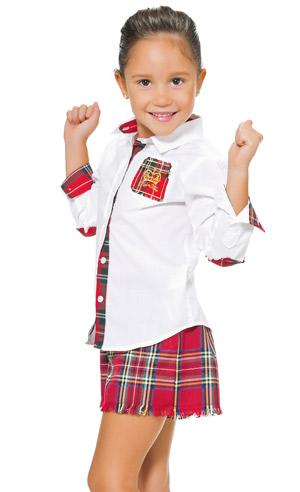 niña-moda-piel-de-toro-camisa-falda-escocesa